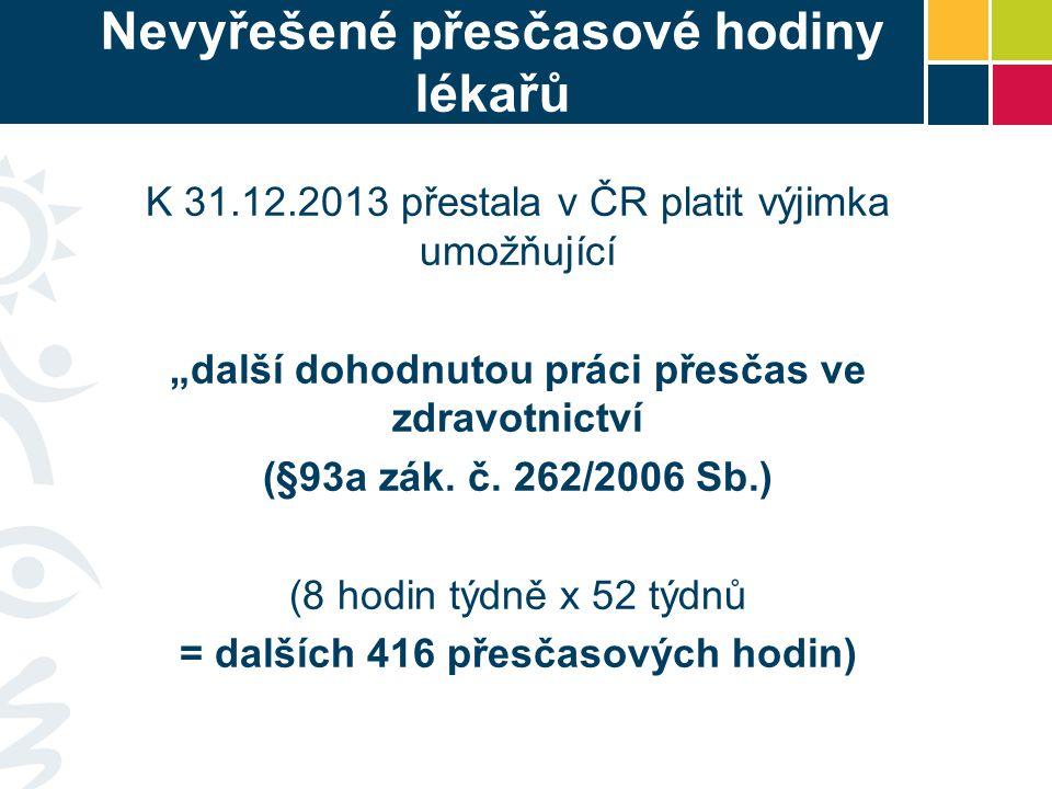 """Nevyřešené přesčasové hodiny lékařů K 31.12.2013 přestala v ČR platit výjimka umožňující """"další dohodnutou práci přesčas ve zdravotnictví (§93a zák."""
