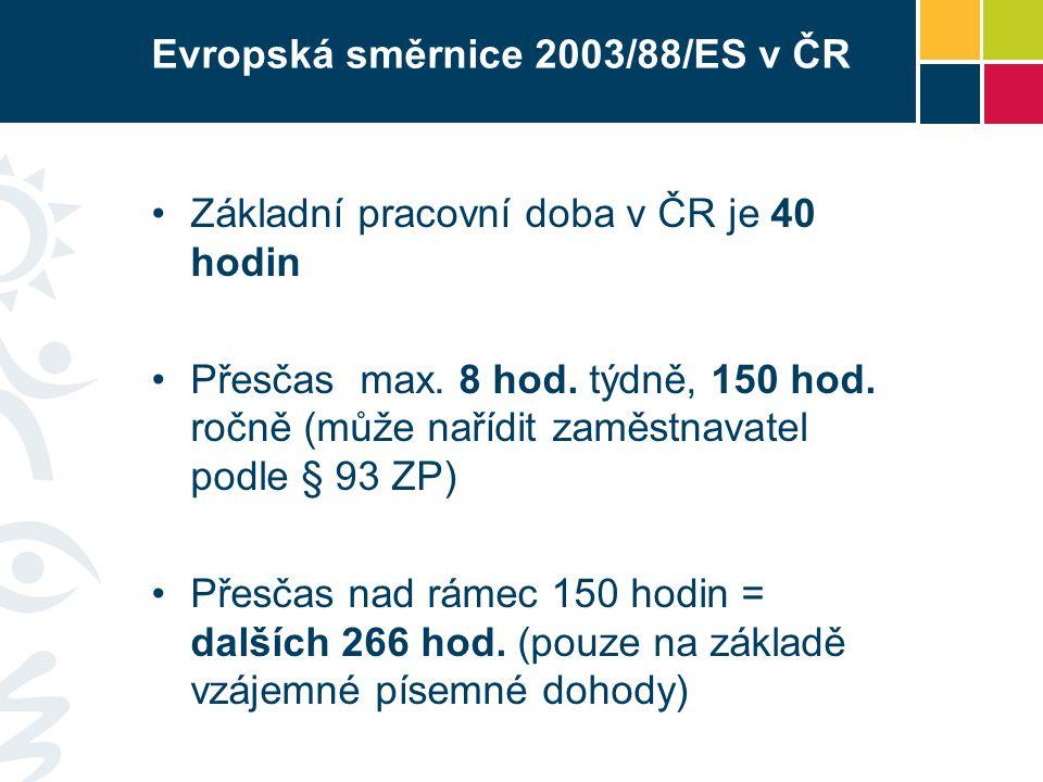 Evropská směrnice 2003/88/ES v ČR Základní pracovní doba v ČR je 40 hodin Přesčas max.
