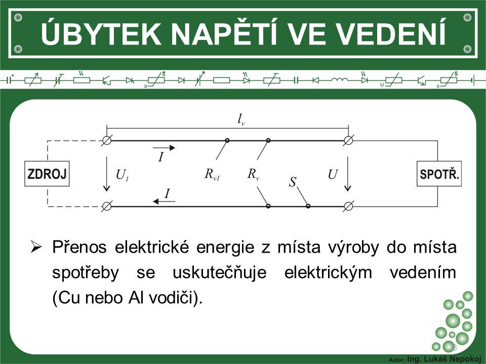 3 ÚBYTEK NAPĚTÍ VE VEDENÍ  Přenos elektrické energie z místa výroby do místa spotřeby se uskutečňuje elektrickým vedením (Cu nebo Al vodiči).