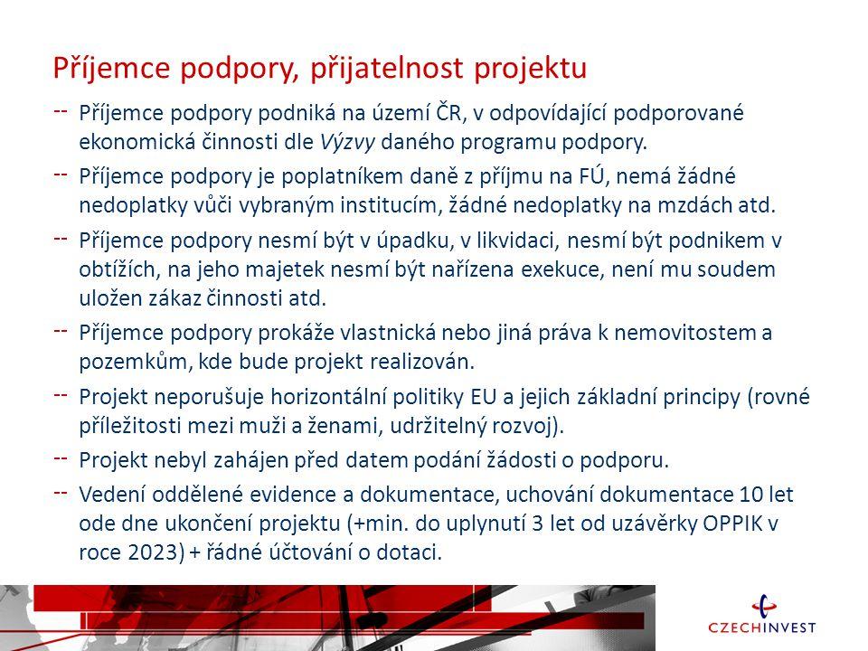 Příjemce podpory, přijatelnost projektu Příjemce podpory podniká na území ČR, v odpovídající podporované ekonomická činnosti dle Výzvy daného programu podpory.