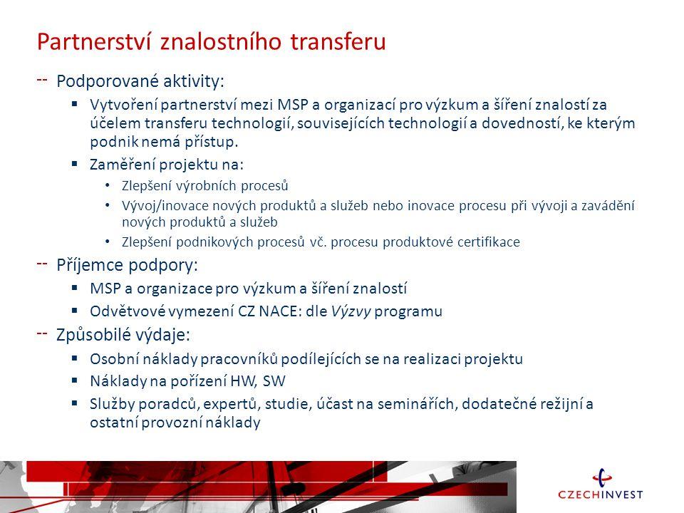 Partnerství znalostního transferu Podporované aktivity:  Vytvoření partnerství mezi MSP a organizací pro výzkum a šíření znalostí za účelem transferu technologií, souvisejících technologií a dovedností, ke kterým podnik nemá přístup.