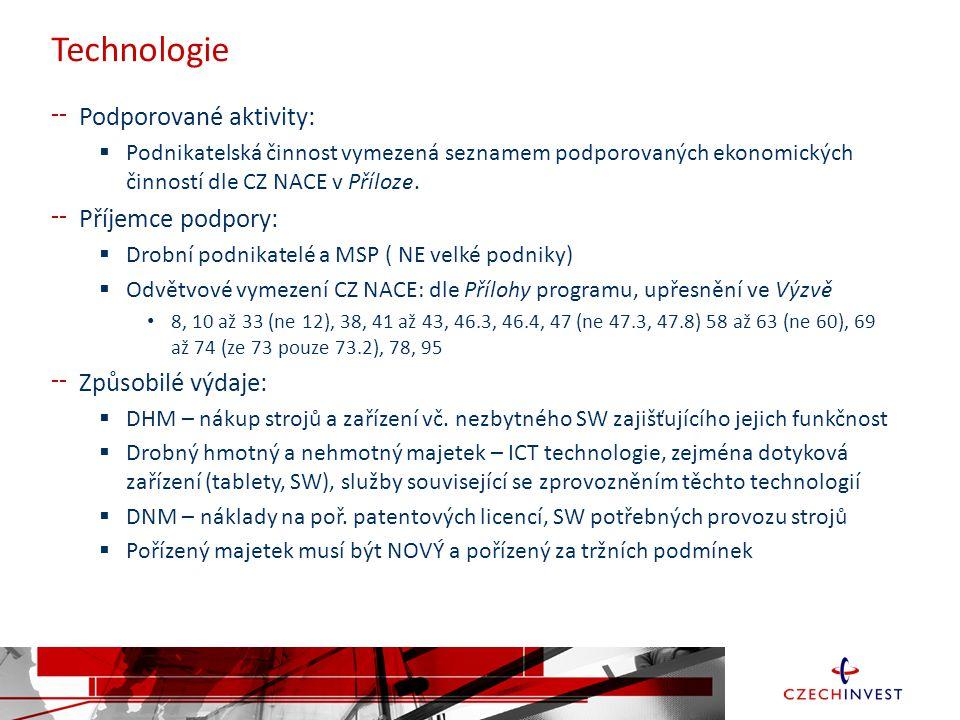 Technologie Podporované aktivity:  Podnikatelská činnost vymezená seznamem podporovaných ekonomických činností dle CZ NACE v Příloze.