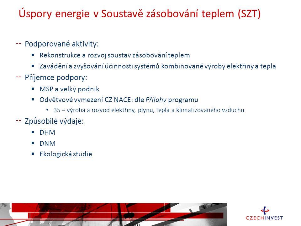 Úspory energie v Soustavě zásobování teplem (SZT) Podporované aktivity:  Rekonstrukce a rozvoj soustav zásobování teplem  Zavádění a zvyšování účinnosti systémů kombinované výroby elektřiny a tepla Příjemce podpory:  MSP a velký podnik  Odvětvové vymezení CZ NACE: dle Přílohy programu 35 – výroba a rozvod elektřiny, plynu, tepla a klimatizovaného vzduchu Způsobilé výdaje:  DHM  DNM  Ekologická studie