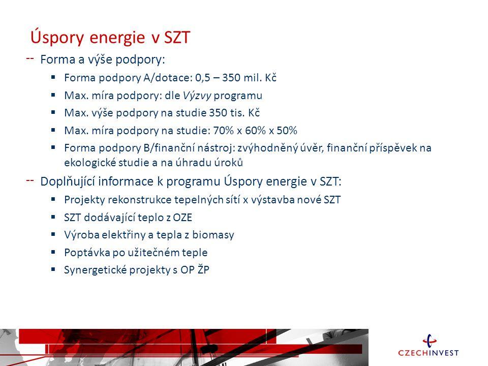 Úspory energie v SZT Forma a výše podpory:  Forma podpory A/dotace: 0,5 – 350 mil.