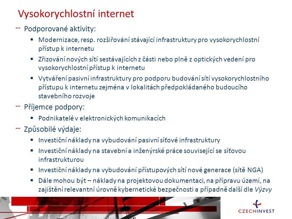 Vysokorychlostní internet Podporované aktivity:  Modernizace, resp.