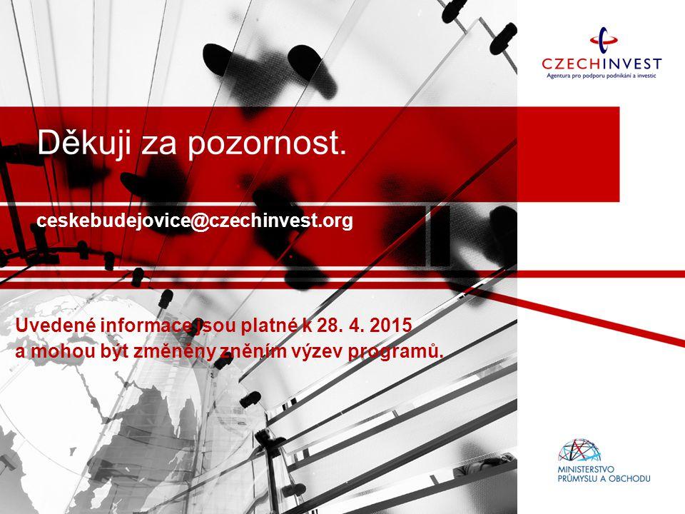 Děkuji za pozornost.ceskebudejovice@czechinvest.org Uvedené informace jsou platné k 28.