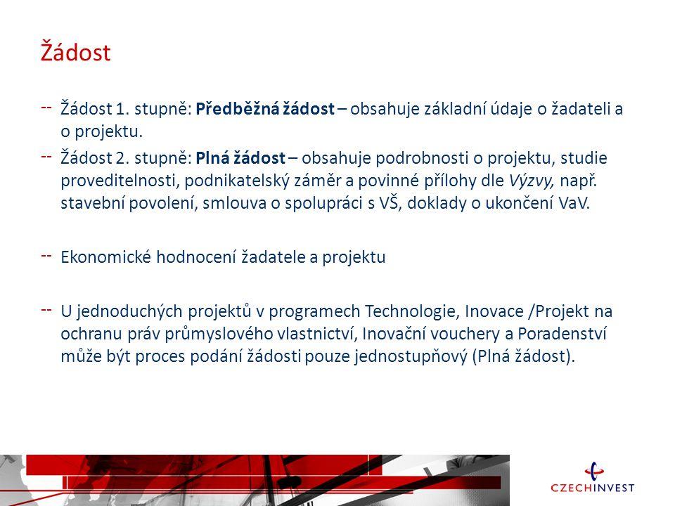 Žádost Žádost 1.stupně: Předběžná žádost – obsahuje základní údaje o žadateli a o projektu.