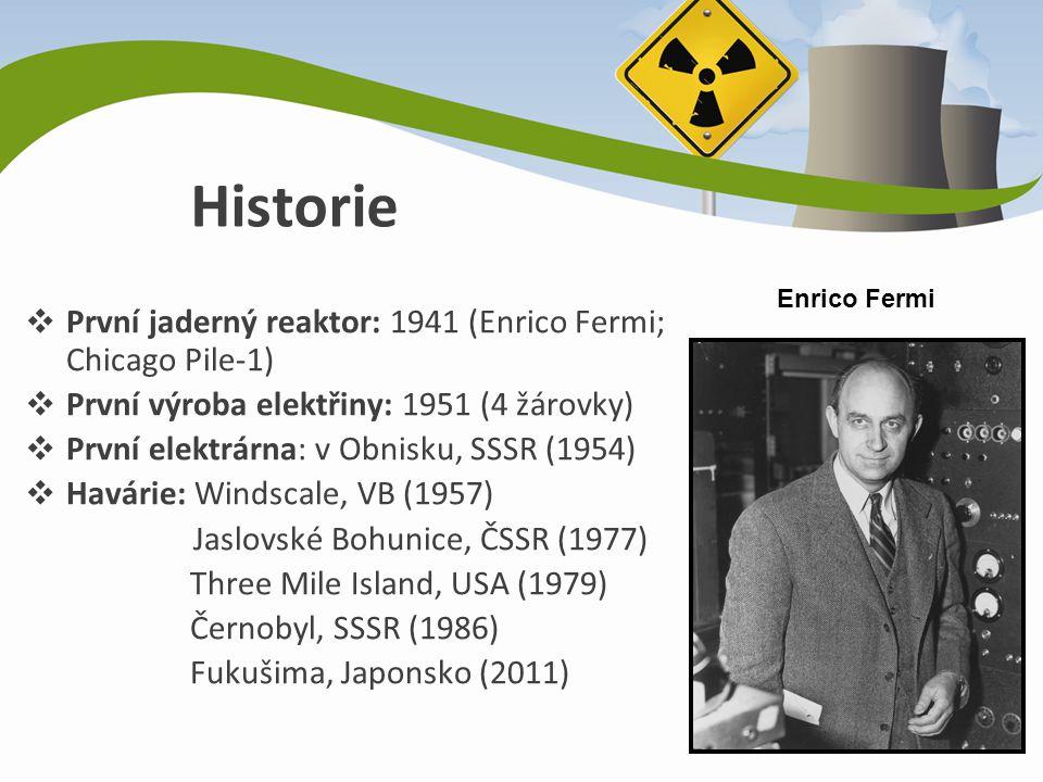 Historie ❖ První jaderný reaktor: 1941 (Enrico Fermi; Chicago Pile-1) ❖ První výroba elektřiny: 1951 (4 žárovky) ❖ První elektrárna: v Obnisku, SSSR (