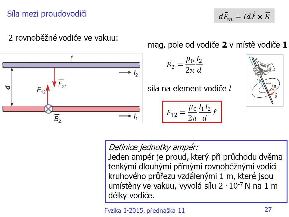 27 Síla mezi proudovodiči 2 rovnoběžné vodiče ve vakuu: mag.