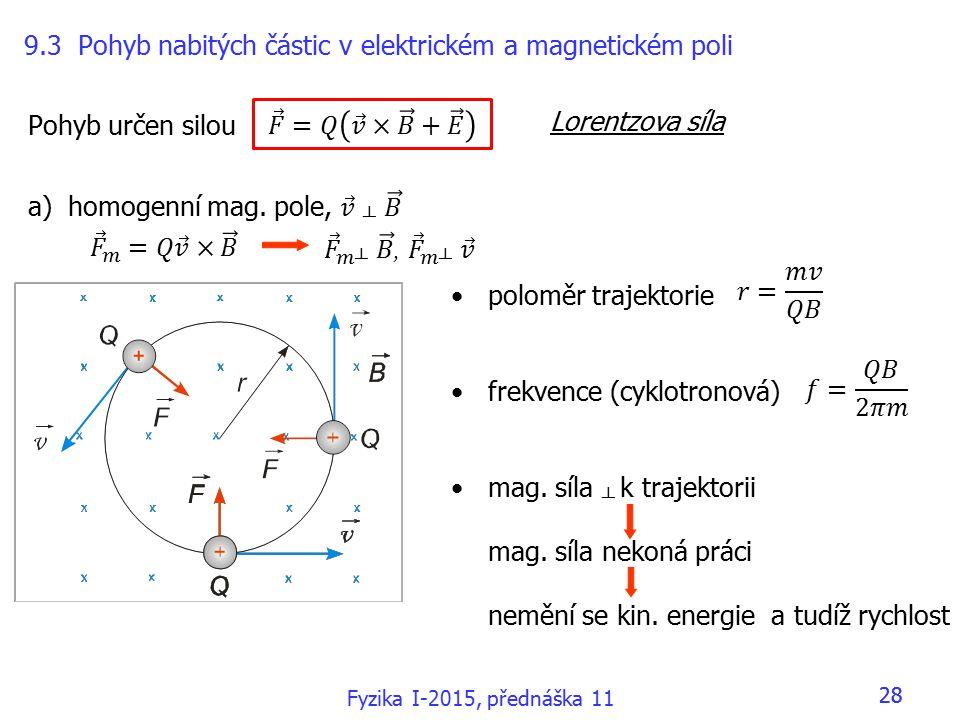 poloměr trajektorie frekvence (cyklotronová) mag.síla ┴ k trajektorii mag.