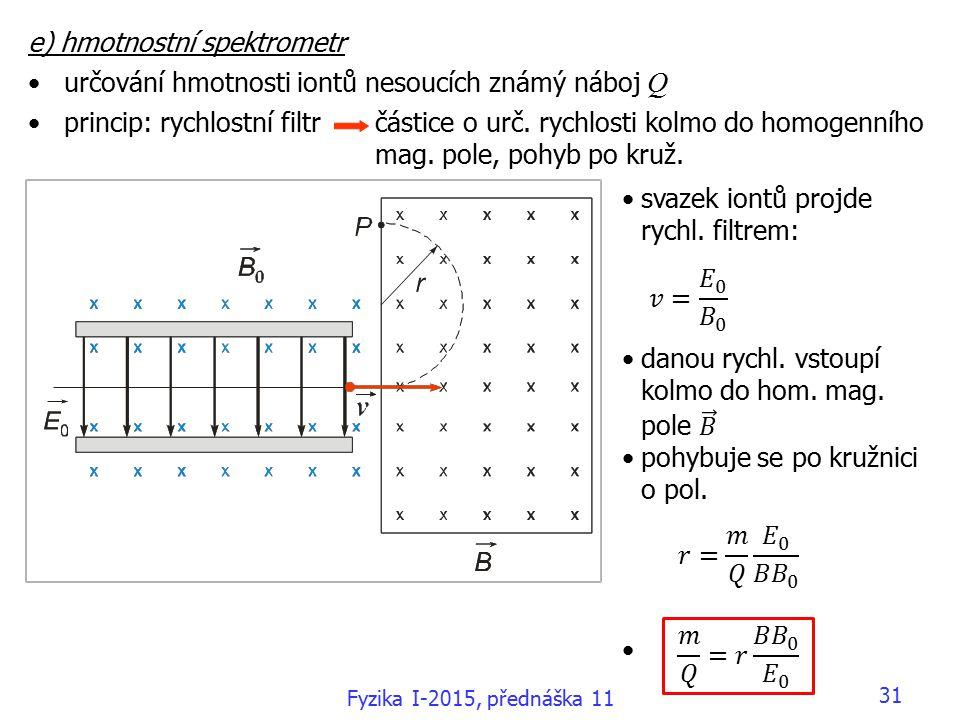 31 e) hmotnostní spektrometr určování hmotnosti iontů nesoucích známý náboj Q princip: rychlostní filtr částice o urč.