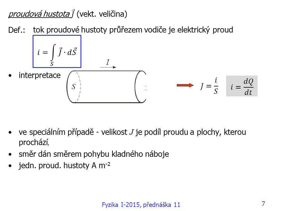 7 tok proudové hustoty průřezem vodiče je elektrický proud Fyzika I-2015, přednáška 11