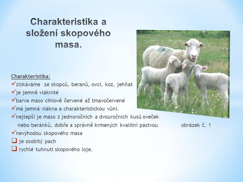 Charakteristika: získáváme ze skopců, beranů, ovcí, koz, jehňat je jemně vláknité barva maso cihlově červené až tmavočervené má jemná vlákna a charakt