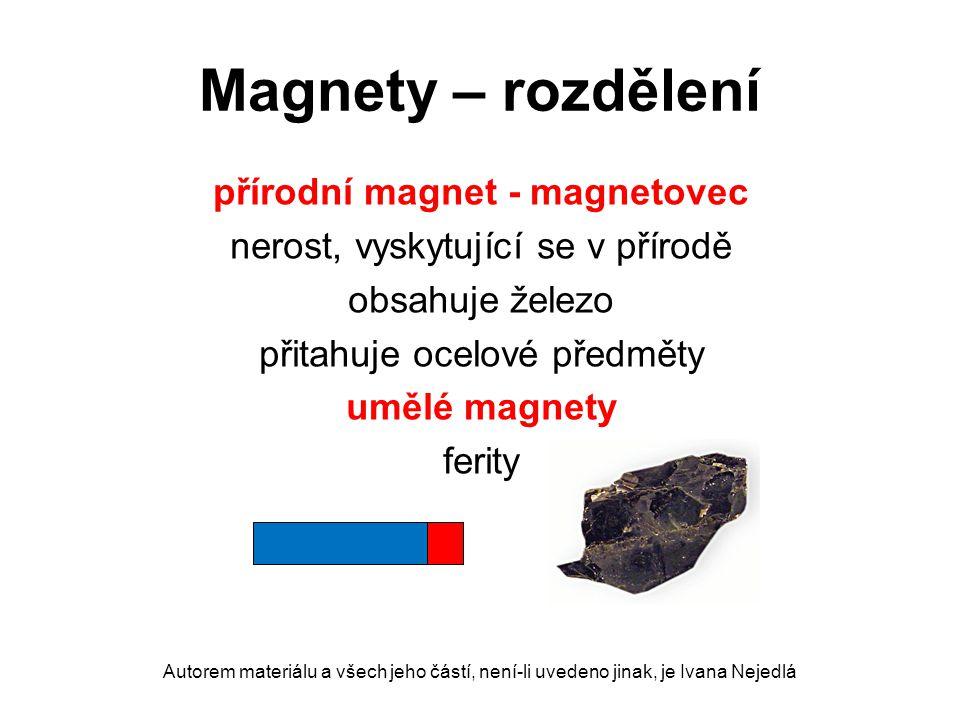 Magnety – rozdělení přírodní magnet - magnetovec nerost, vyskytující se v přírodě obsahuje železo přitahuje ocelové předměty umělé magnety ferity Auto