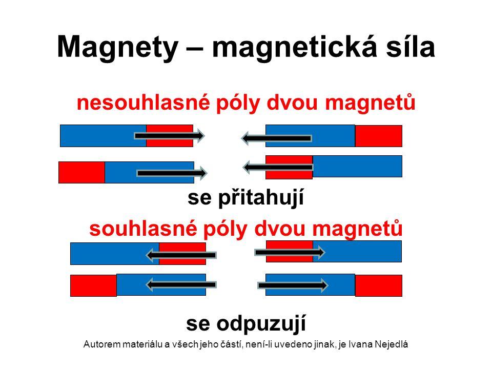 Magnety – magnetická síla nesouhlasné póly dvou magnetů se přitahují souhlasné póly dvou magnetů se odpuzují Autorem materiálu a všech jeho částí, nen
