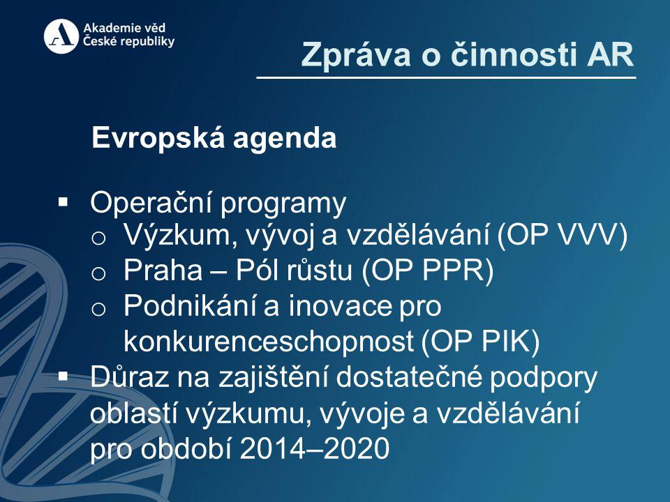 Evropská agenda  Operační programy o Výzkum, vývoj a vzdělávání (OP VVV) o Praha – Pól růstu (OP PPR) o Podnikání a inovace pro konkurenceschopnost (OP PIK)  Důraz na zajištění dostatečné podpory oblastí výzkumu, vývoje a vzdělávání pro období 2014–2020 Zpráva o činnosti AR