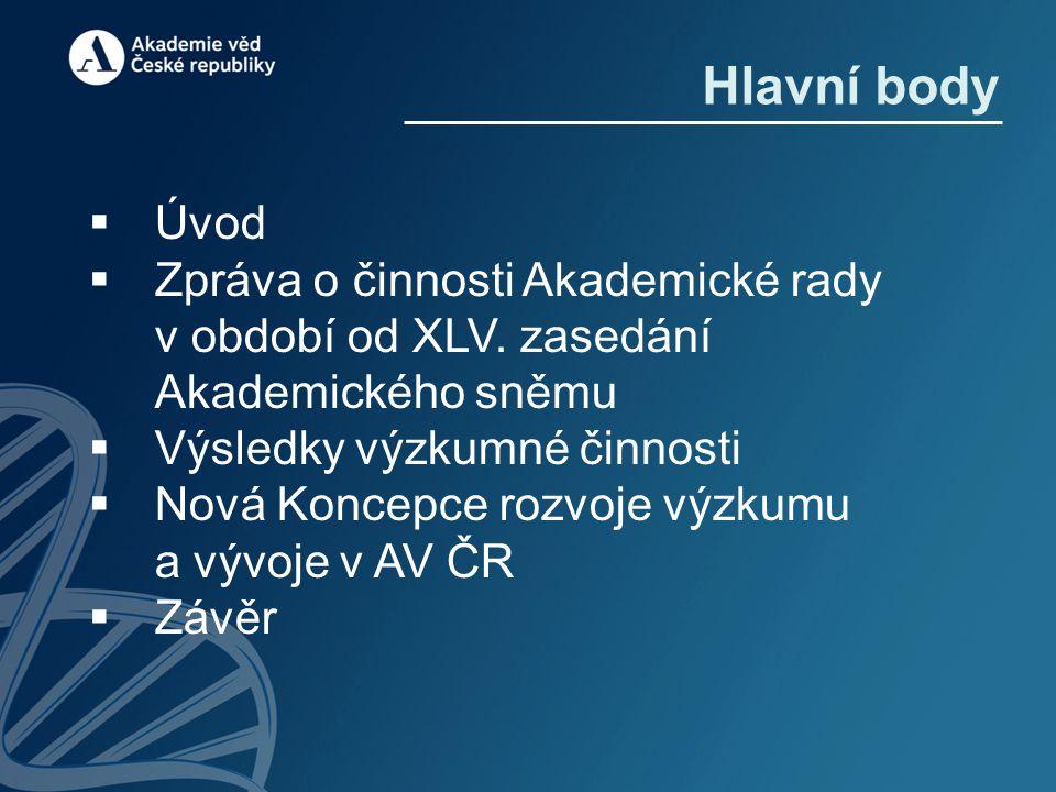 Hlavní body  Úvod  Zpráva o činnosti Akademické rady v období od XLV.
