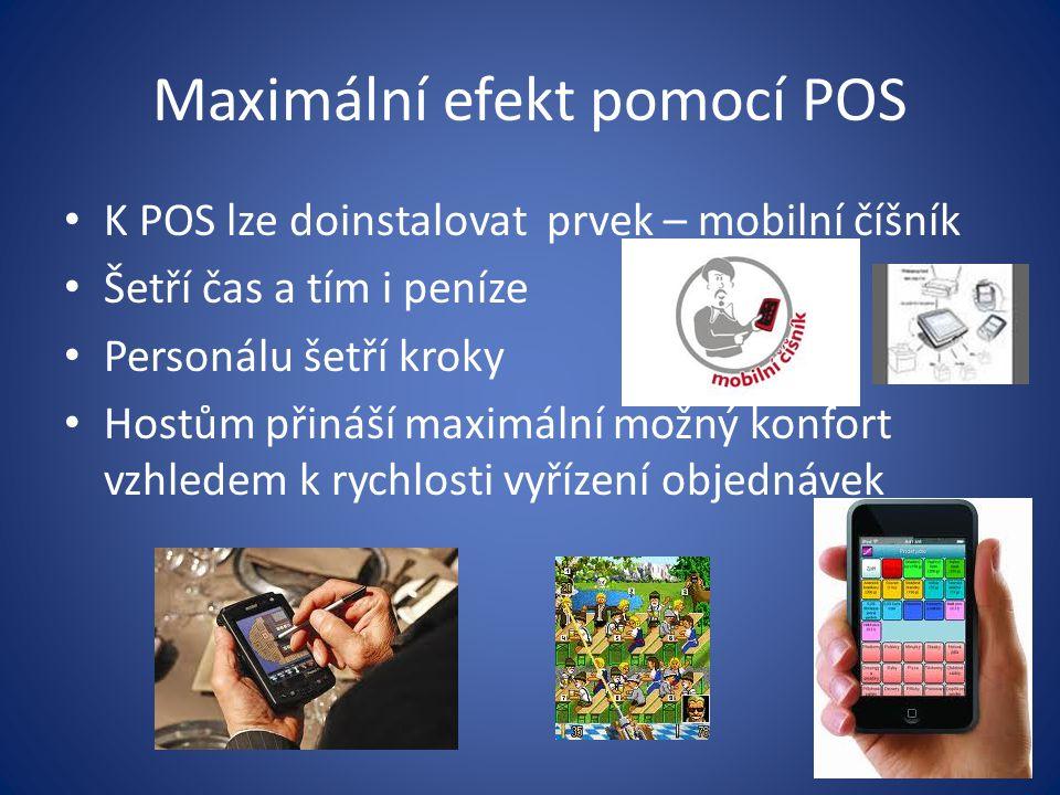 Maximální efekt pomocí POS K POS lze doinstalovat prvek – mobilní číšník Šetří čas a tím i peníze Personálu šetří kroky Hostům přináší maximální možný konfort vzhledem k rychlosti vyřízení objednávek