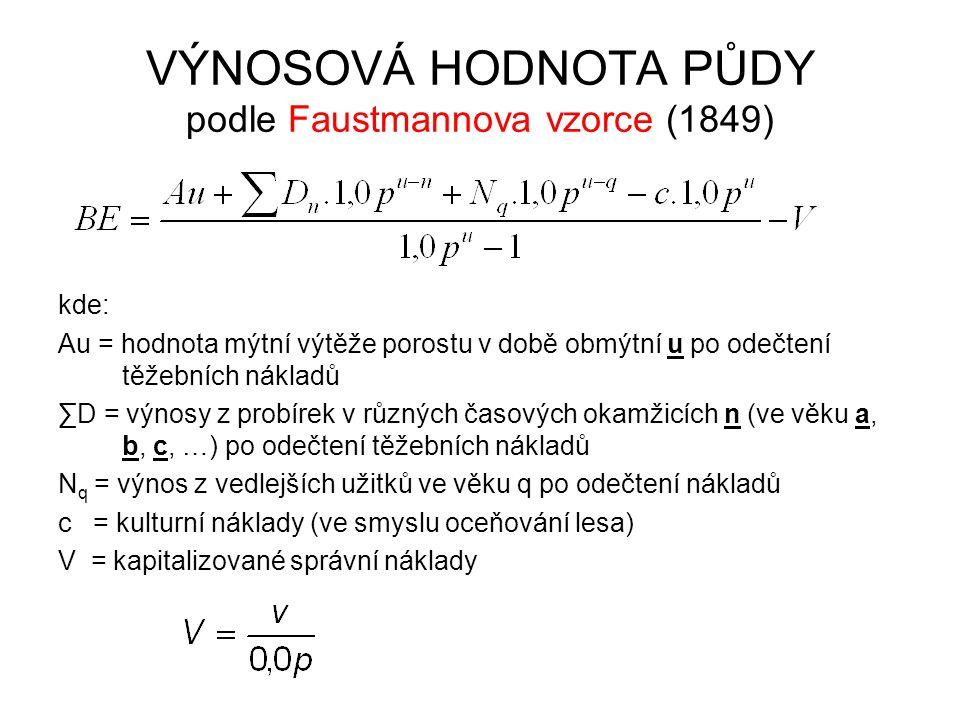 VÝNOSOVÁ HODNOTA PŮDY podle Faustmannova vzorce (1849) kde: Au = hodnota mýtní výtěže porostu v době obmýtní u po odečtení těžebních nákladů ∑D = výno