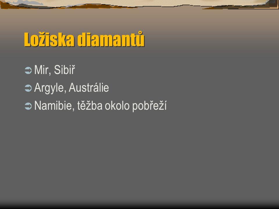 Ložiska diamantů  Mir, Sibiř  Argyle, Austrálie  Namibie, těžba okolo pobřeží