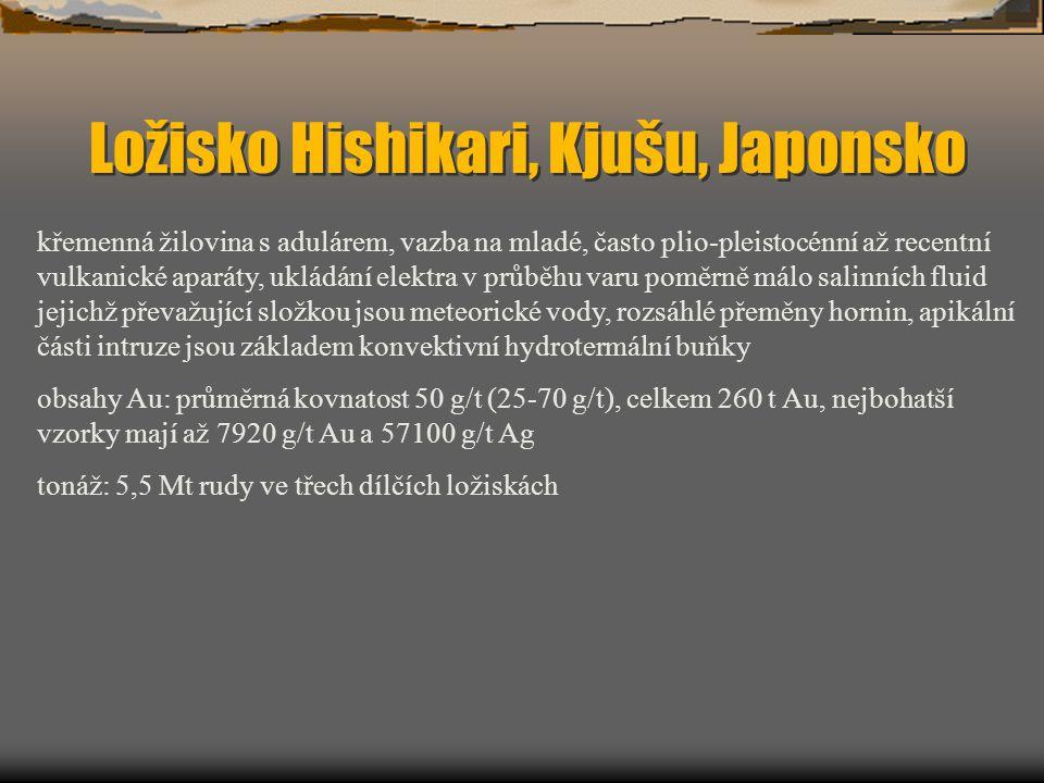 Ložisko Hishikari, Kjušu, Japonsko křemenná žilovina s adulárem, vazba na mladé, často plio-pleistocénní až recentní vulkanické aparáty, ukládání elek
