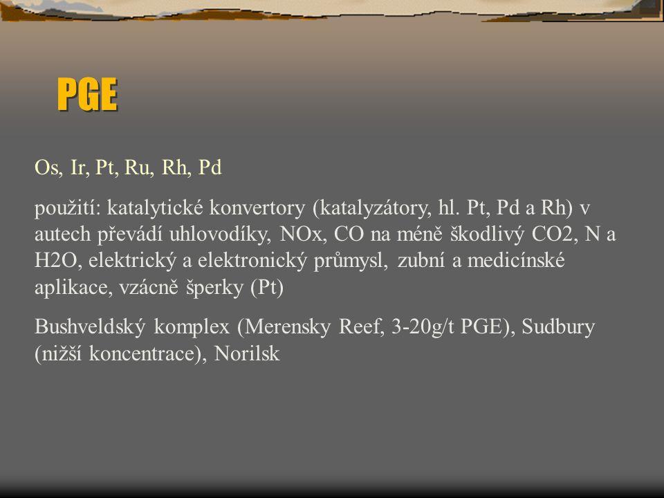 PGE Os, Ir, Pt, Ru, Rh, Pd použití: katalytické konvertory (katalyzátory, hl. Pt, Pd a Rh) v autech převádí uhlovodíky, NOx, CO na méně škodlivý CO2,