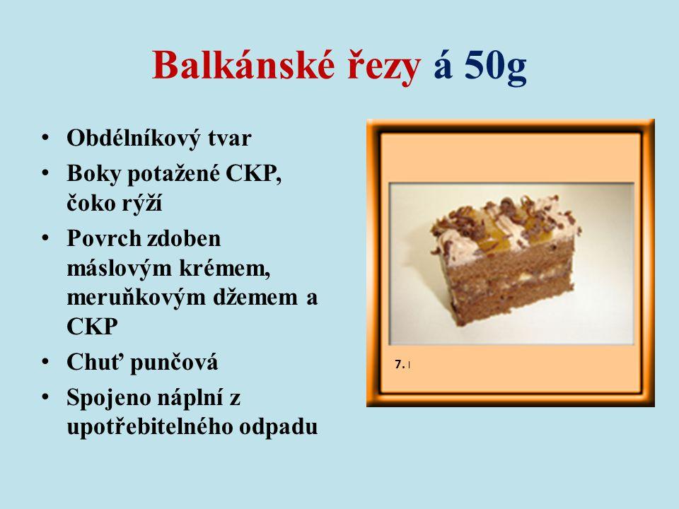 Balkánské řezy á 50g Obdélníkový tvar Boky potažené CKP, čoko rýží Povrch zdoben máslovým krémem, meruňkovým džemem a CKP Chuť punčová Spojeno náplní