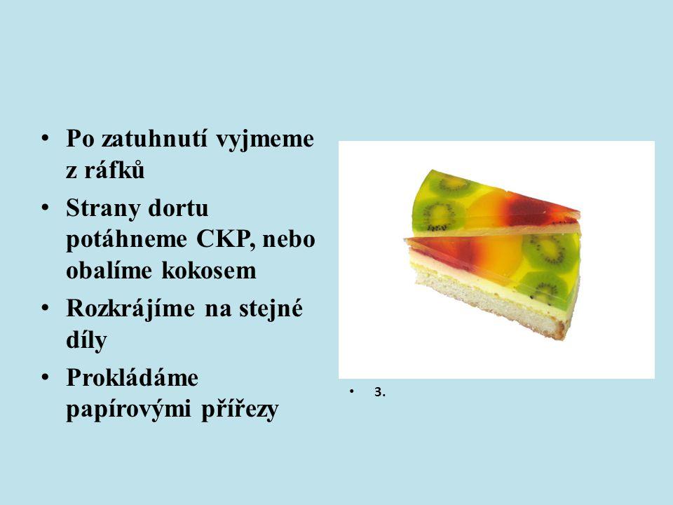 Po zatuhnutí vyjmeme z ráfků Strany dortu potáhneme CKP, nebo obalíme kokosem Rozkrájíme na stejné díly Prokládáme papírovými přířezy 3.