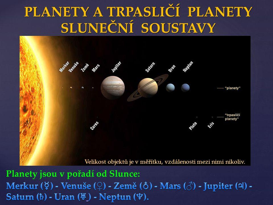 Velikost objektů je v měřítku, vzdálenosti mezi nimi nikoliv. PLANETY A TRPASLIČÍ PLANETY SLUNEČNÍ SOUSTAVY Planety jsou v pořadí od Slunce: