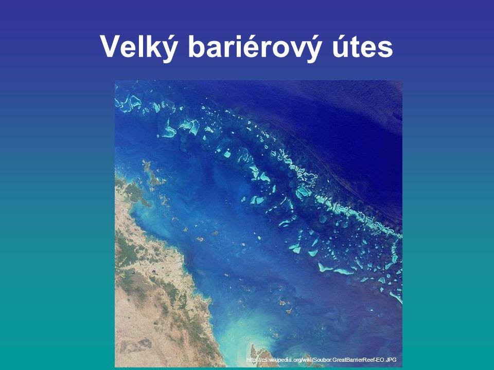 Velký bariérový útes http://cs.wikipedia.org/wiki/Soubor:GreatBarrierReef-EO.JPG