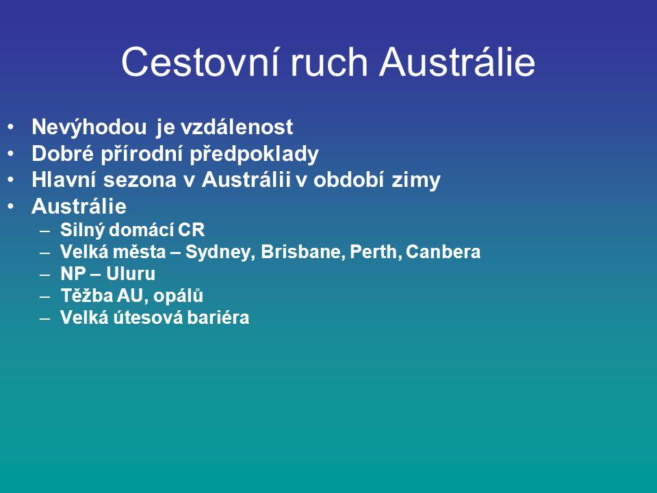 Cestovní ruch Austrálie Nevýhodou je vzdálenost Dobré přírodní předpoklady Hlavní sezona v Austrálii v období zimy Austrálie –Silný domácí CR –Velká města – Sydney, Brisbane, Perth, Canbera –NP – Uluru –Těžba AU, opálů –Velká útesová bariéra
