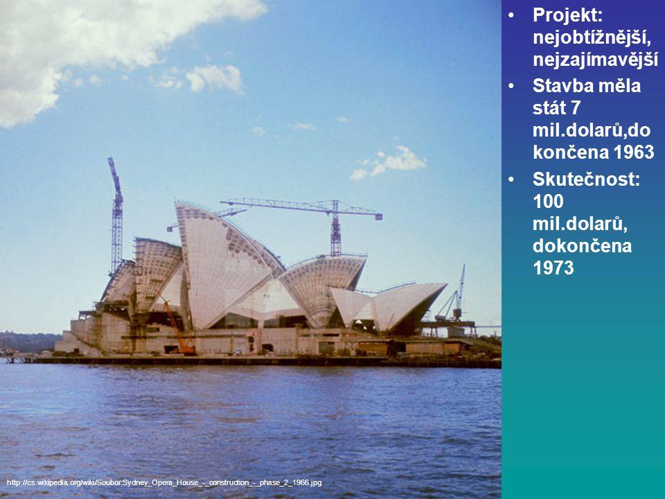 Projekt: nejobtížnější, nejzajímavější Stavba měla stát 7 mil.dolarů,do končena 1963 Skutečnost: 100 mil.dolarů, dokončena 1973 http://cs.wikipedia.org/wiki/Soubor:Sydney_Opera_House_-_construction_-_phase_2_1966.jpg