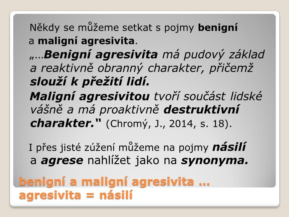 benigní a maligní agresivita … agresivita = násilí Někdy se můžeme setkat s pojmy benigní a maligní agresivita.