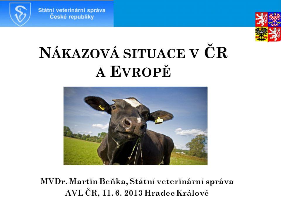 S CHMALLENBERG VIRUS  Začátkem listopadu 2011 byl diagnostikován první případ u skotu v Německu;  U postižených dojnic jsou tyto symptomy: horečka (> 40 °C), zhoršení celkového zdravotního stavu, nechutenství a snížená produkce mléka (až o 50 %), průjem.