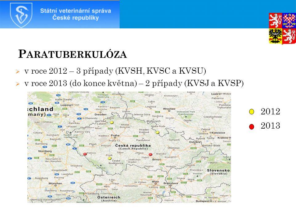 P ARATUBERKULÓZA  v roce 2012 – 3 případy (KVSH, KVSC a KVSU)  v roce 2013 (do konce května) – 2 případy (KVSJ a KVSP) 2012 2013 20