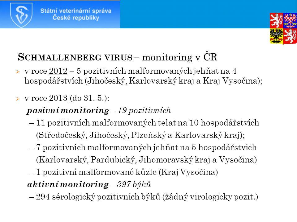 S CHMALLENBERG VIRUS – monitoring v ČR  v roce 2012 – 5 pozitivních malformovaných jehňat na 4 hospodářstvích (Jihočeský, Karlovarský kraj a Kraj Vysočina);  v roce 2013 (do 31.