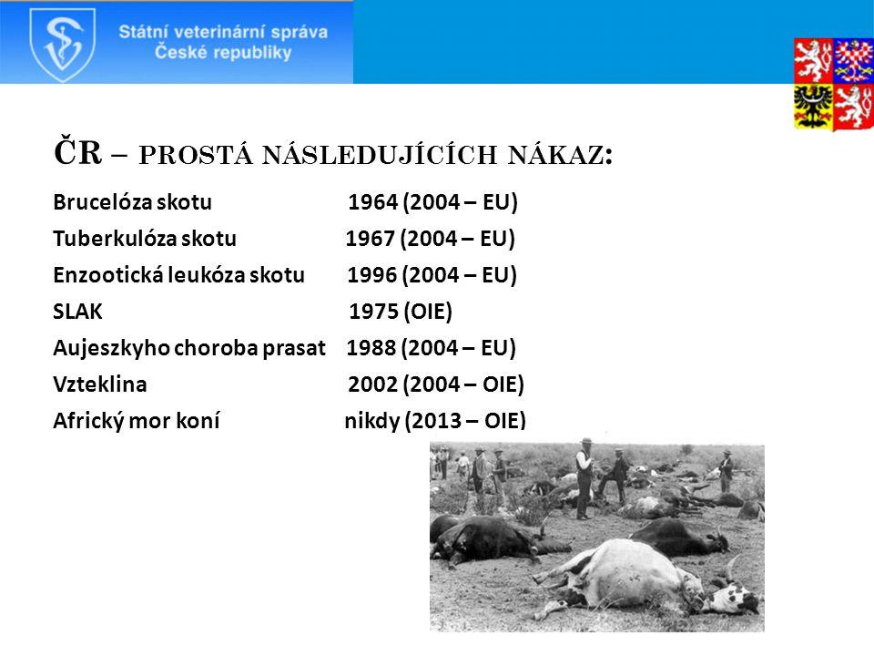 ČR – PROSTÁ NÁSLEDUJÍCÍCH NÁKAZ : Brucelóza skotu 1964 (2004 – EU) Tuberkulóza skotu 1967 (2004 – EU) Enzootická leukóza skotu 1996 (2004 – EU) SLAK 1975 (OIE) Aujeszkyho choroba prasat 1988 (2004 – EU) Vzteklina 2002 (2004 – OIE) Africký mor koní nikdy (2013 – OIE)