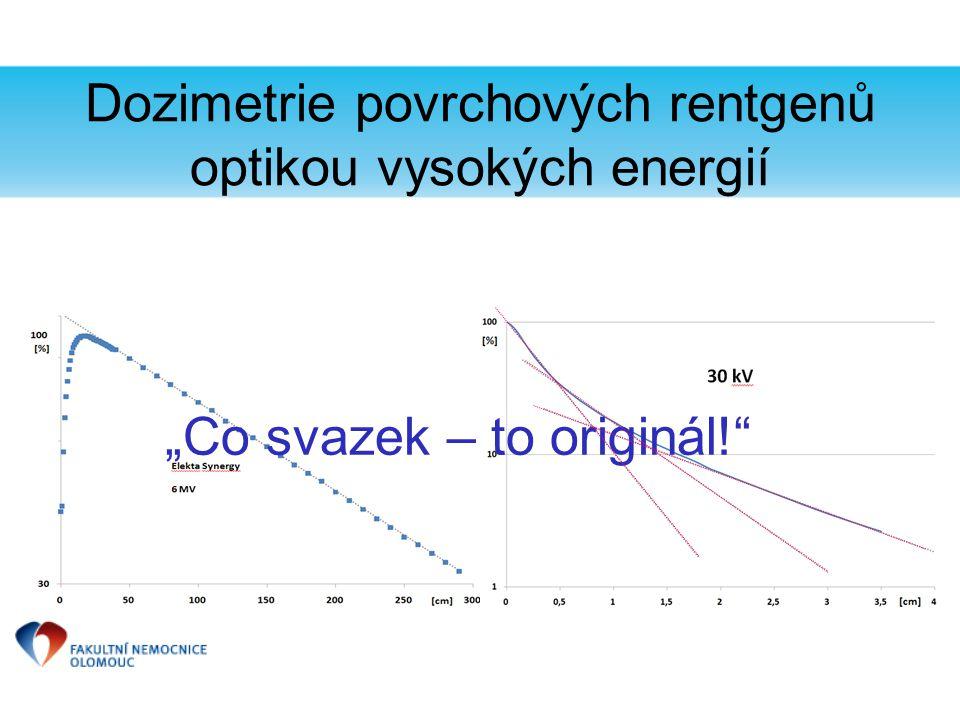 """Dozimetrie povrchových rentgenů optikou vysokých energií Ionizační komory představují pro svazky nízkých energií """"velkou dutinu ."""