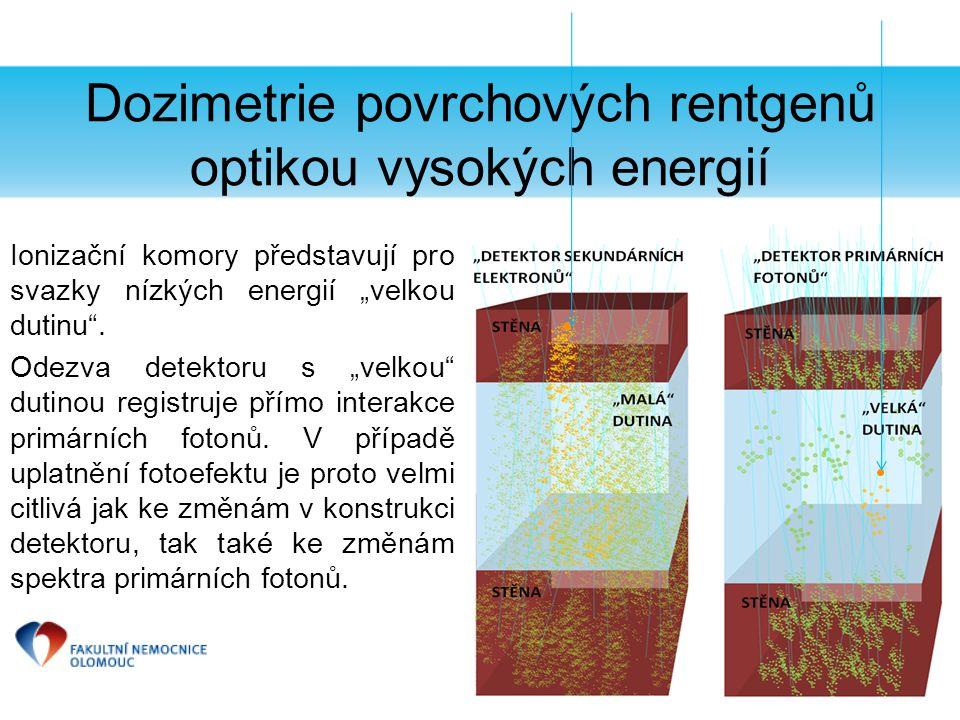 """Dozimetrie povrchových rentgenů optikou vysokých energií Ionizační komory představují pro svazky nízkých energií """"velkou dutinu"""". Odezva detektoru s """""""