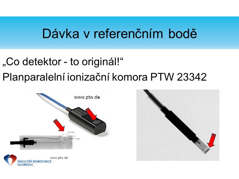 """Dávka v referenčním bodě """"Co detektor - to originál!"""" Planparalelní ionizační komora PTW 23342 www.ptw.de"""