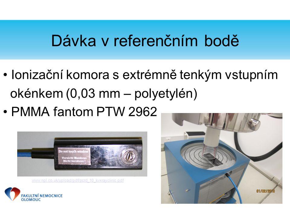Ionizační komora s extrémně tenkým vstupním okénkem (0,03 mm – polyetylén) PMMA fantom PTW 2962 www.npl.co.uk/upload/pdf/pcrd_10_kvxrayclinic.pdf Dávk