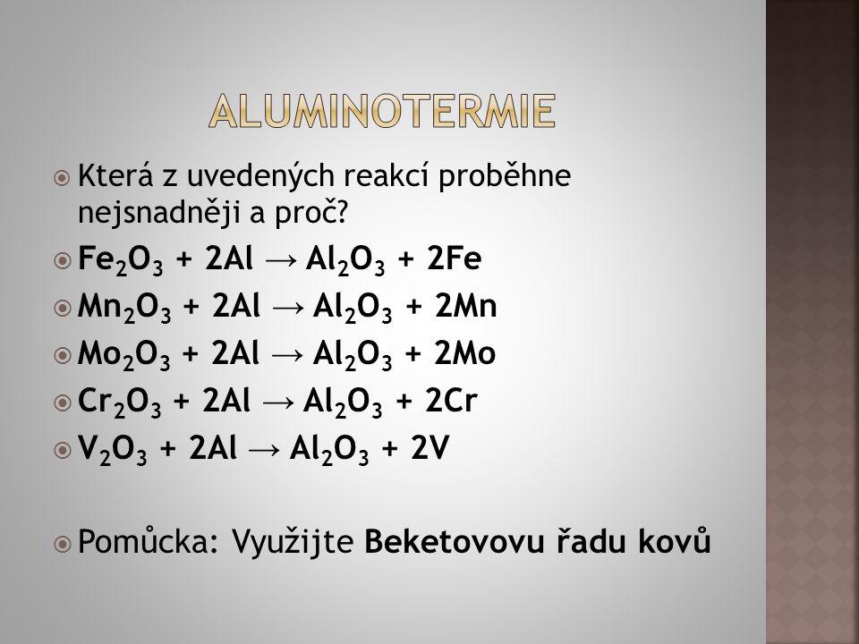  Snadno reaguje  4Al + 3O 2 → 2Al 2 O 3  Amfoterní vlastnosti (z hlediska pH obojaký, reaguje s kyselinami i se zásadami):  2Al + 3H 2 SO 4 → Al 2