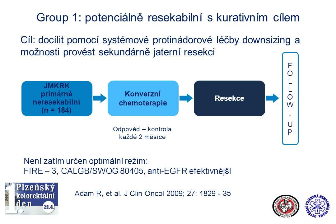 Group 1: potenciálně resekabilní s kurativním cílem Cíl: docílit pomocí systémové protinádorové léčby downsizing a možnosti provést sekundárně jaterní