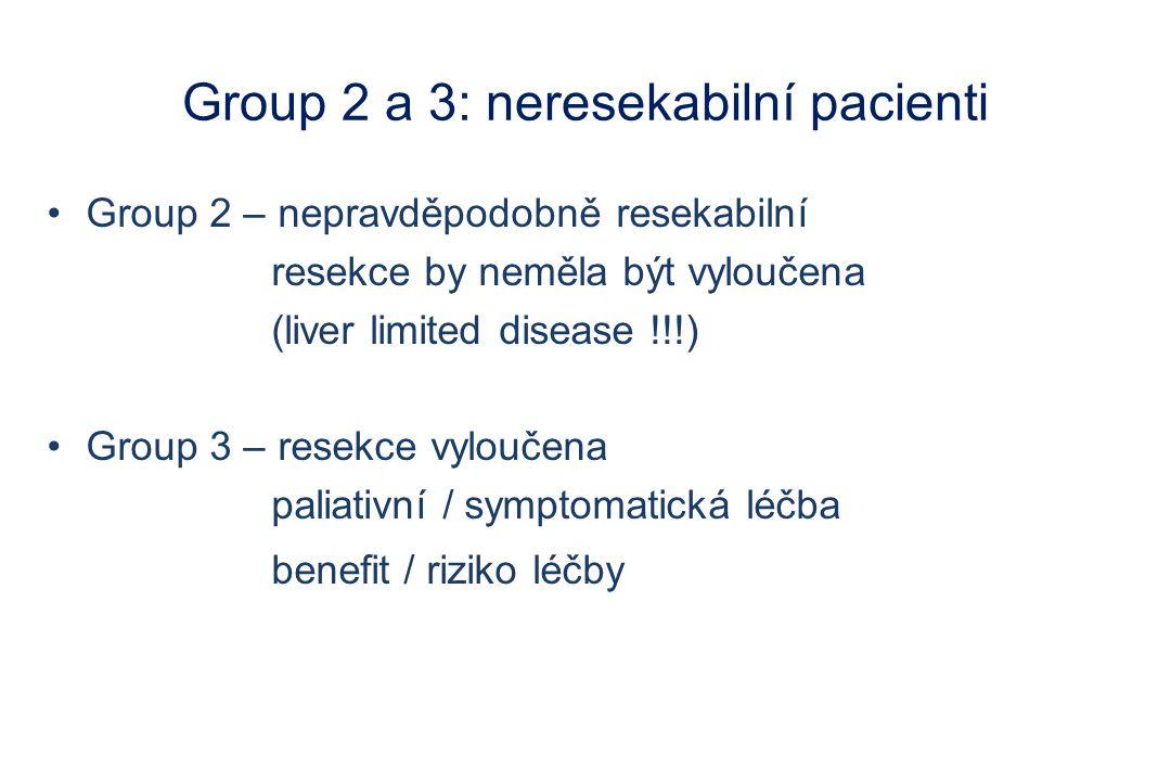 Group 2 a 3: neresekabilní pacienti Group 2 – nepravděpodobně resekabilní resekce by neměla být vyloučena (liver limited disease !!!) Group 3 – resekc