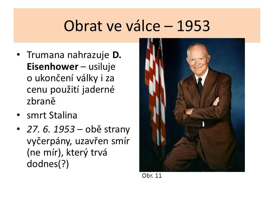 Obrat ve válce – 1953 Trumana nahrazuje D. Eisenhower – usiluje o ukončení války i za cenu použití jaderné zbraně smrt Stalina 27. 6. 1953 – obě stran