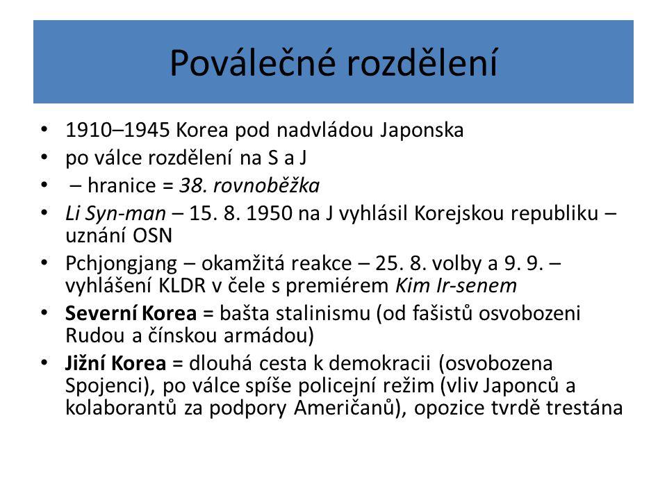 Poválečné rozdělení 1910–1945 Korea pod nadvládou Japonska po válce rozdělení na S a J – hranice = 38. rovnoběžka Li Syn-man – 15. 8. 1950 na J vyhlás
