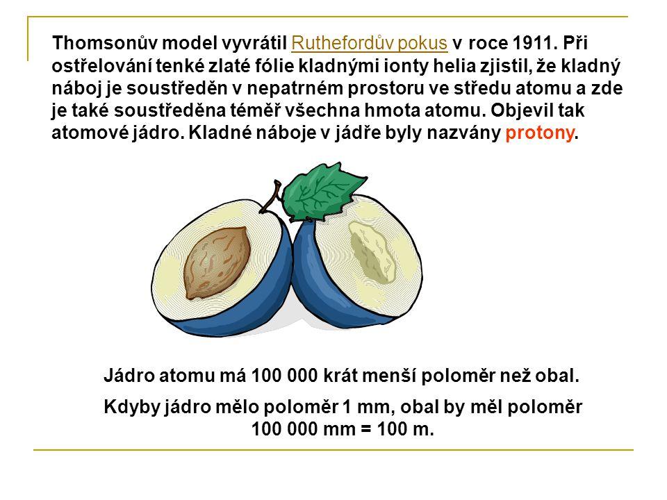 Thomsonův model vyvrátil Ruthefordův pokus v roce 1911. Při ostřelování tenké zlaté fólie kladnými ionty helia zjistil, že kladný náboj je soustředěn