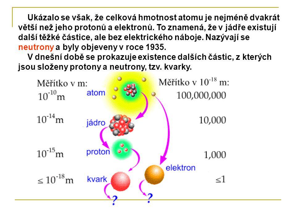 Ukázalo se však, že celková hmotnost atomu je nejméně dvakrát větší než jeho protonů a elektronů. To znamená, že v jádře existují další těžké částice,