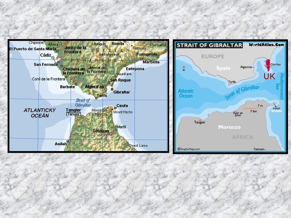 Gibraltar je britské území na nejjižnějším výběžku Iberského poloostrova. Úžina gibraltarského průlivu je deset mil široká a třicet mil dlouhá (18 km
