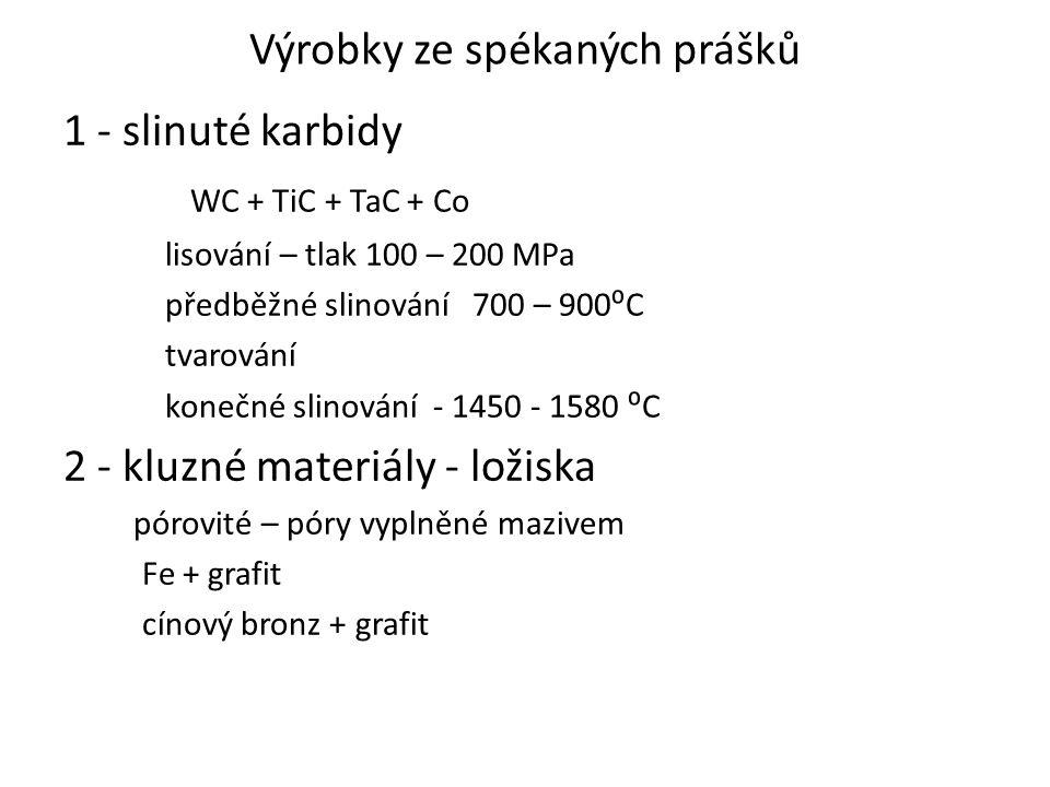 Výrobky ze spékaných prášků 1 - slinuté karbidy WC + TiC + TaC + Co lisování – tlak 100 – 200 MPa předběžné slinování 700 – 900⁰C tvarování konečné sl